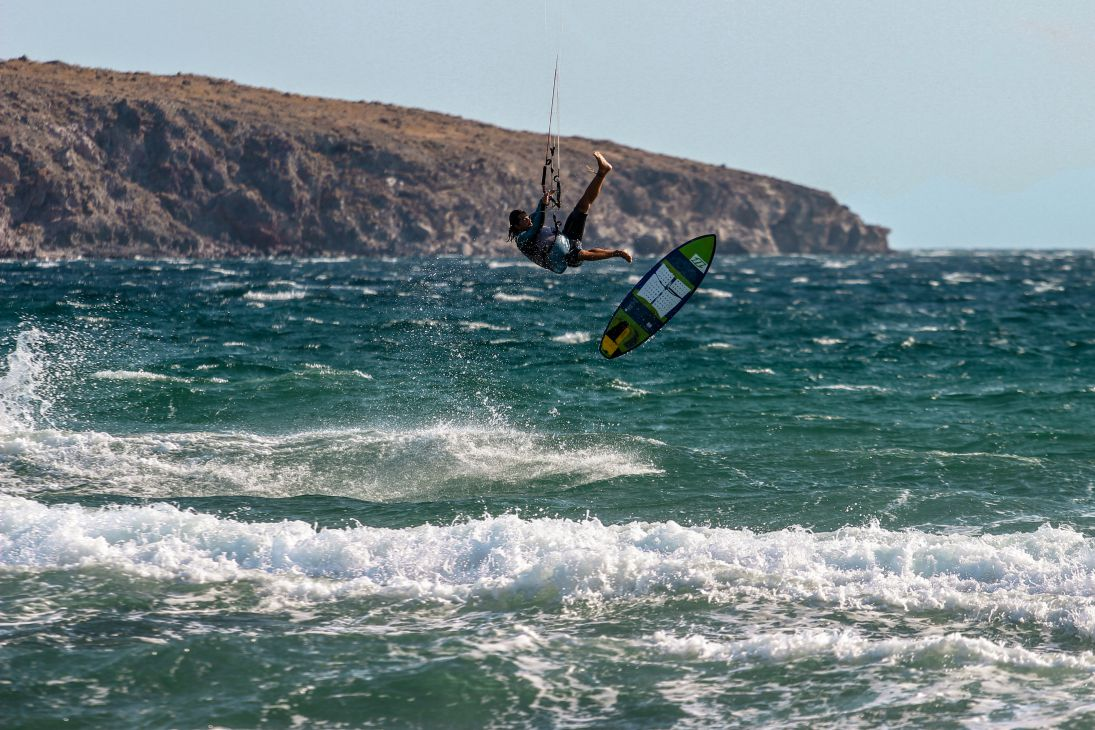 Kitesurfer jumping at Red Rock
